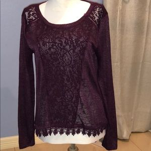 Crochet Detail Sheer Long Sleeve Top